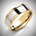 Two Colour Flat Court Contemporary Design Wedding Ring 8mm wide in a choice of precious metals